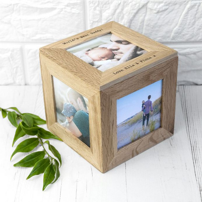 Personalised Oak Photo Cube Box  | Personalised  Gifts | The Present Season